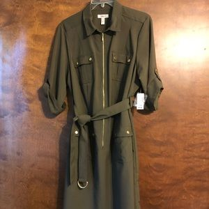 Military style army green dress